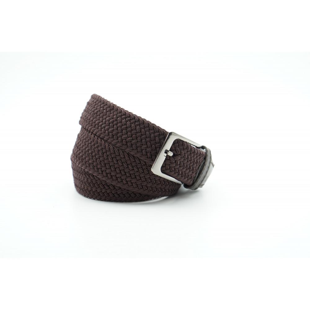 Брючный текстильный ремень коричневого цвета 35 мм, батал BT-k-0011