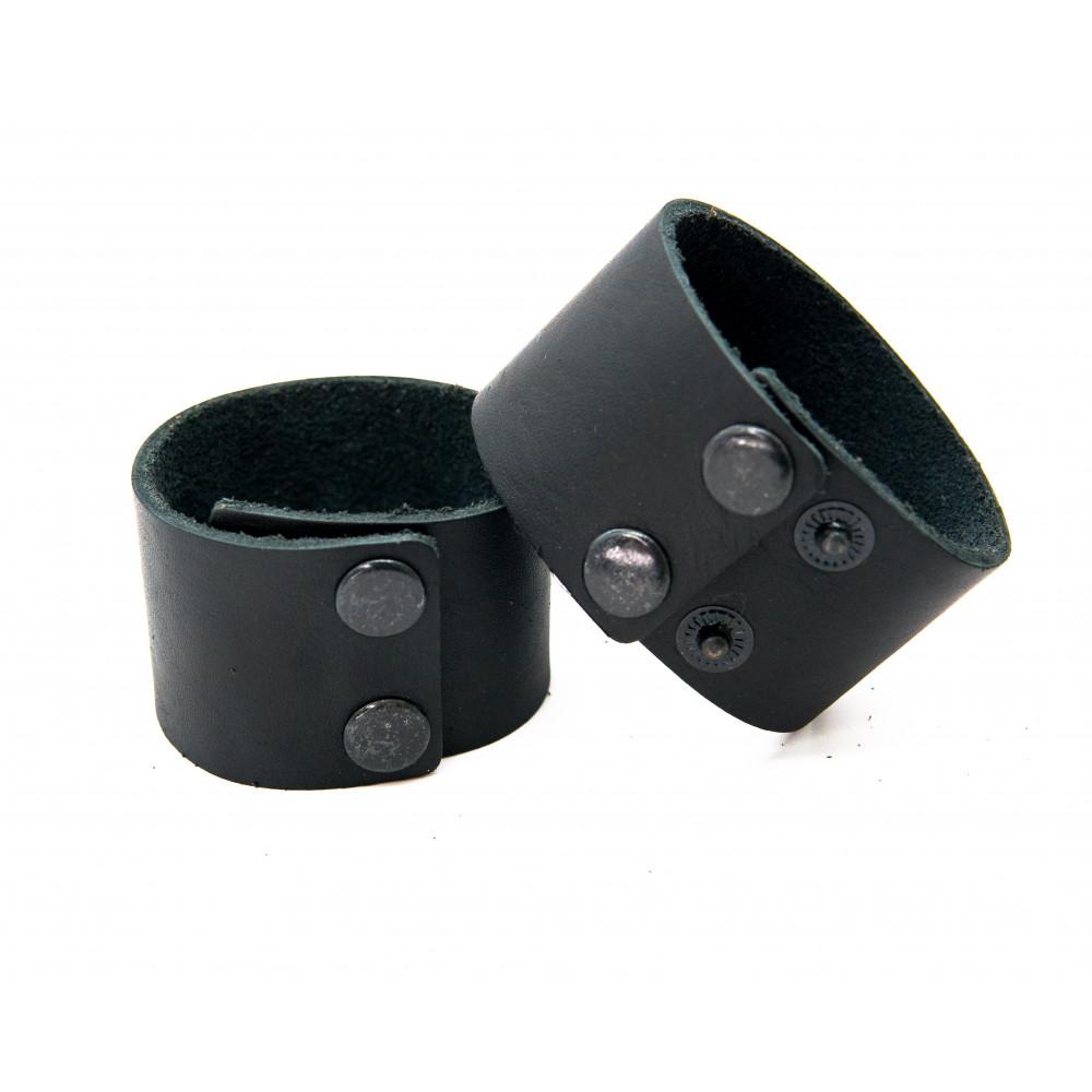 Кожаный браслет, гладкий, черный, 40мм BR-h-4001