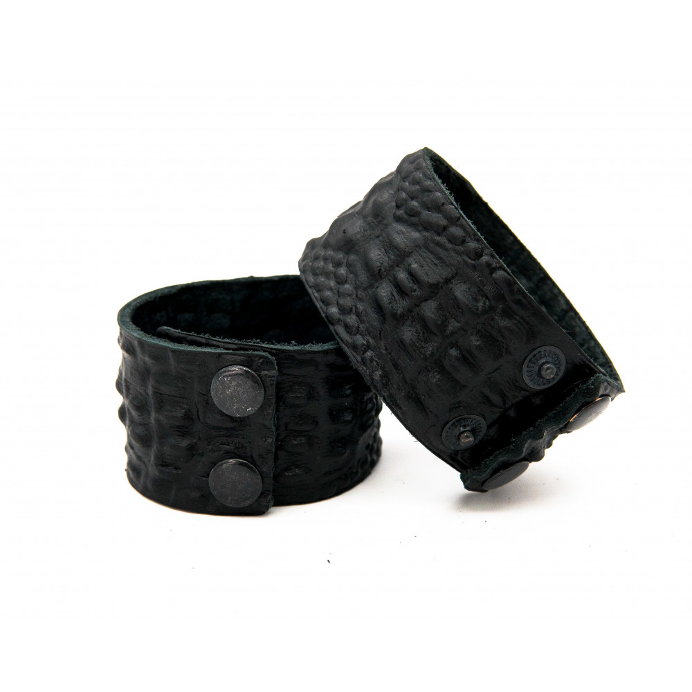 Кожаный браслет, тиснение крокодил, черный, 40мм BR-h-4004