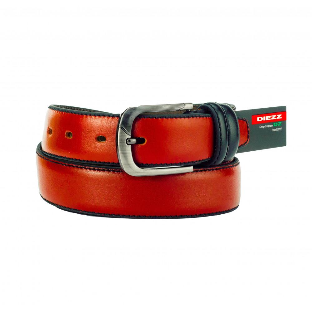 Ремень брючный оранжевого цвета (черная нить, дутый) GD-o-0086