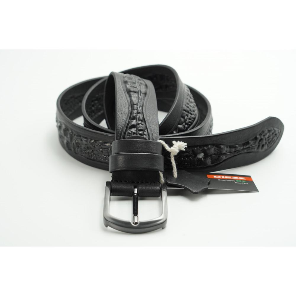 Ремень джинсовый мужской с 3D рисунком (черный) 40мм 3D-h-0148