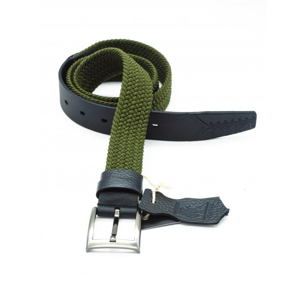 Брючный комбинированный ремень: кожа+текстиль зеленого цвета KK-z-0005