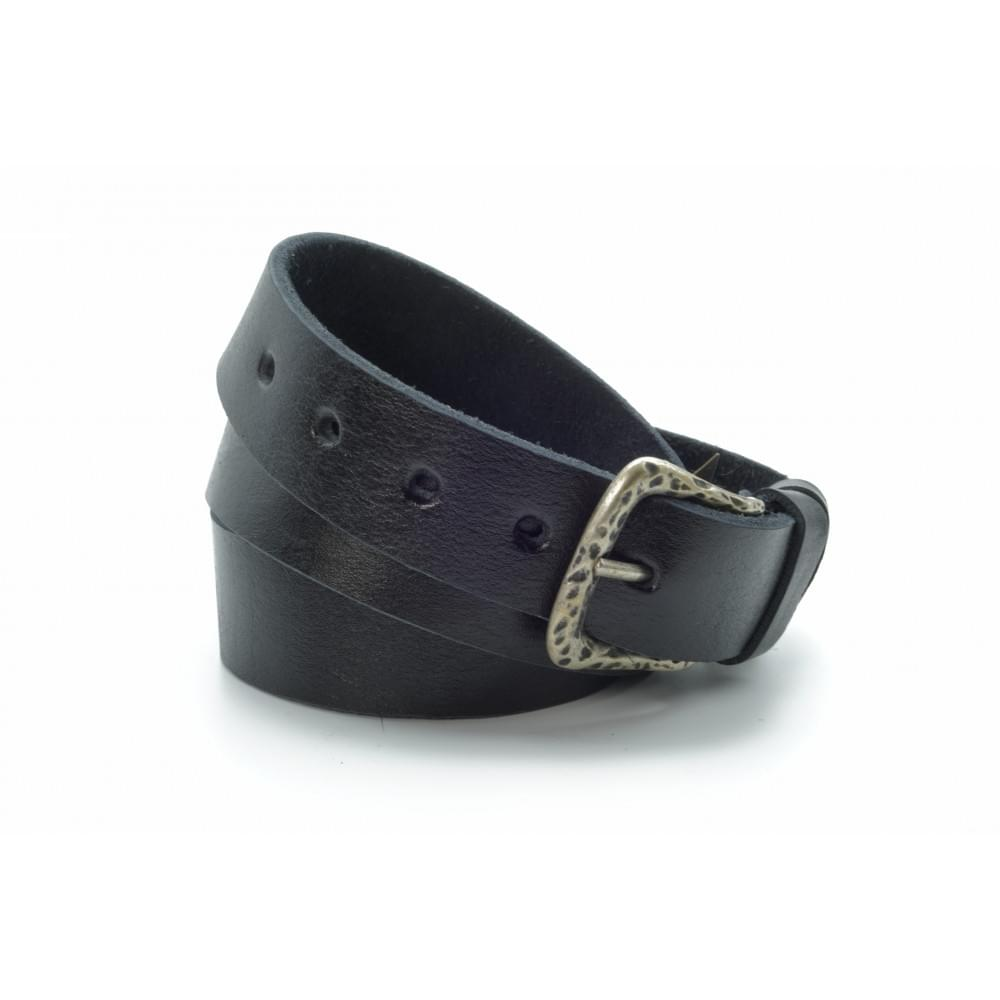 Ремень джинсовый 35 мм, черный, эксклюзивная кожа – Испания ES-h-0730