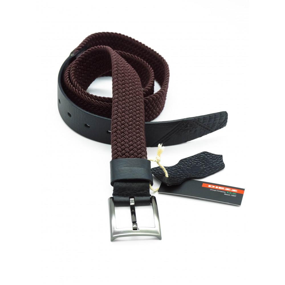 Брючный комбинированный ремень: кожа+текстиль коричневого цвета KK-k-0005