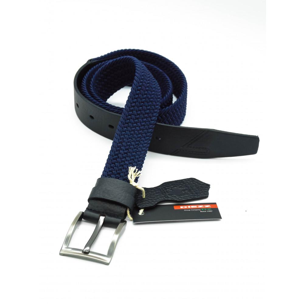 Брючный комбинированный ремень: кожа+текстиль синего цвета KK-s-0005